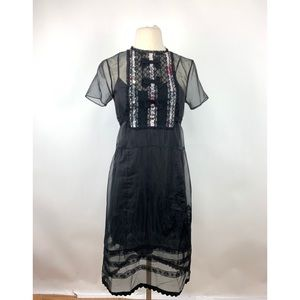 Coach Black Sheer Lacy Bow Embroidered Dress